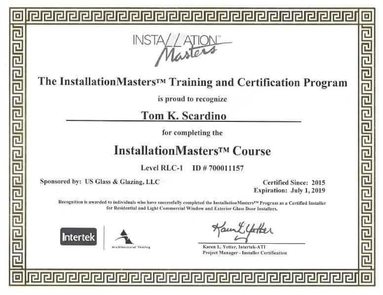 installation masters certification